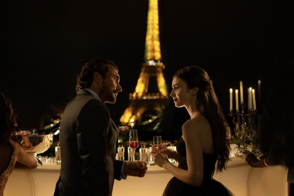 Antoine Lambert and Lily Collins in Emily in Paris