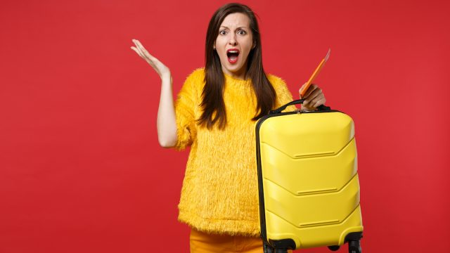 Frustrated female traveler