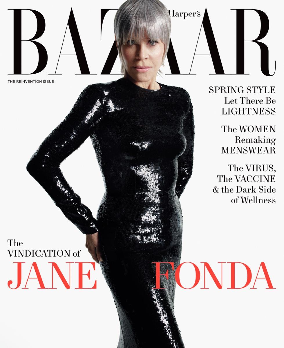 Jane Fonda on the cover of Harper's Bazaar
