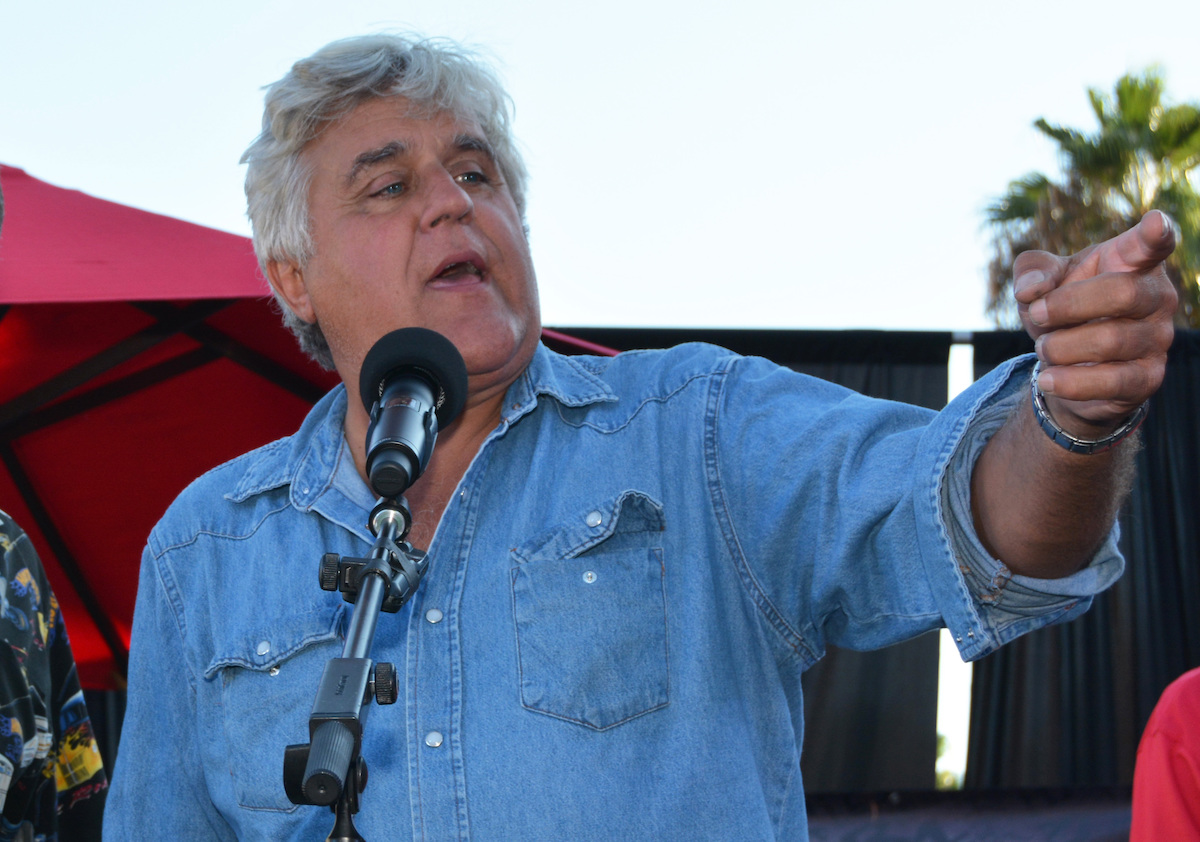 Jay Leno receiving a lifetime achievement award from the city of Burbank