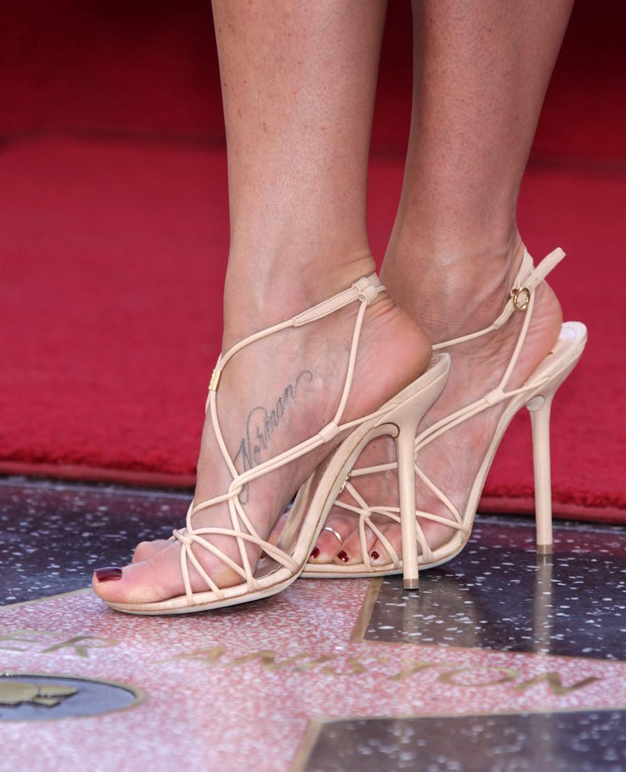 "Jennifer Aniston's ""Norman"" foot tattoo"