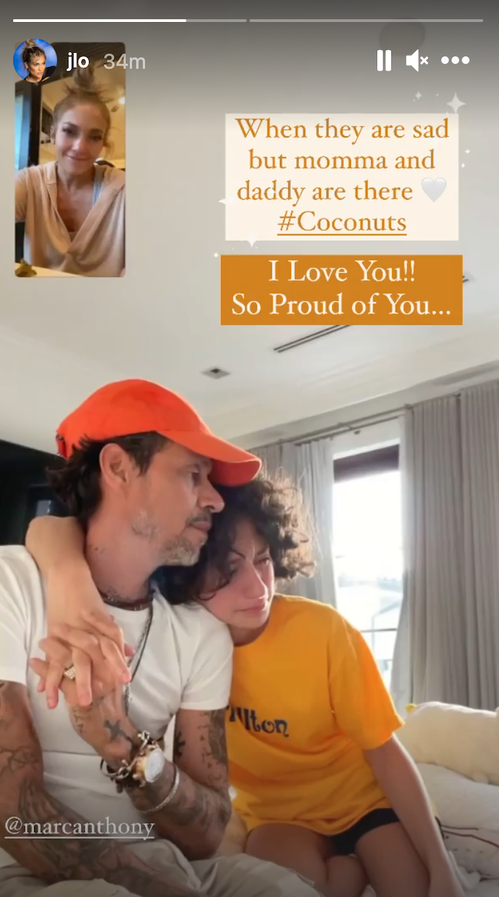 A screenshot of Jennifer Lopez video chatting with Marc Anthony and their daughter Emme
