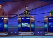 """Contestants on a March 2021 episode of """"Jeopardy!"""""""