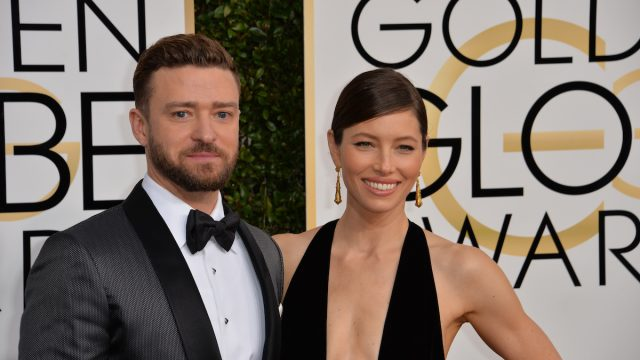Justin Timberlake and Jessica Biel at the 2017 Golden Globe Awards
