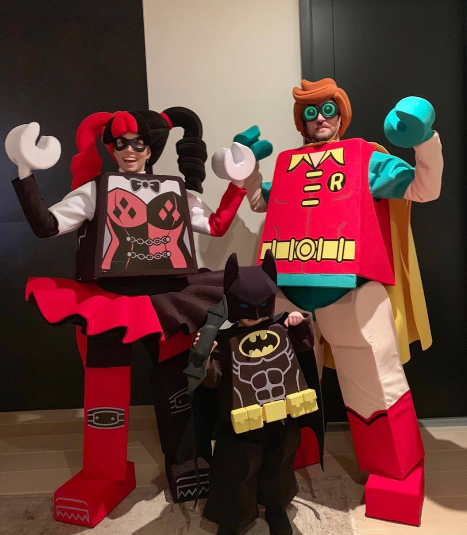 Jessica Biel, Justin Timberlake, and Silas in Lego Halloween costumes