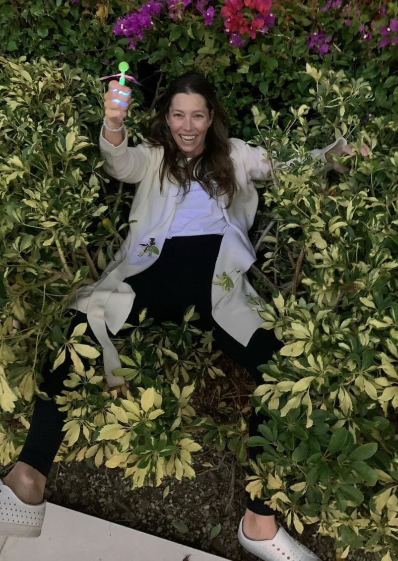 Jessica Biel in a bush in a photo from Justin Timberlake's Instagram