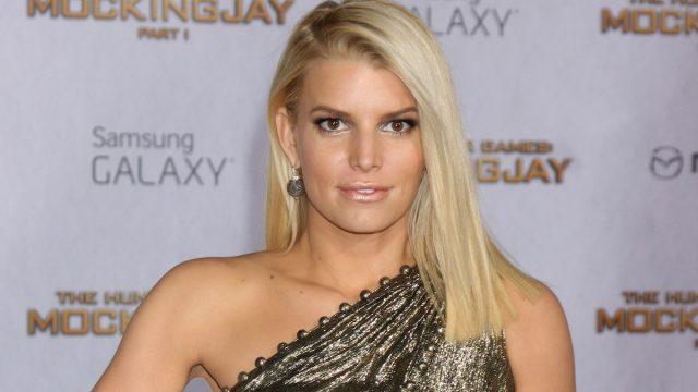 """Jessica Simpson at the """"Hunger Games: Mockingjay — Part 1"""" premiere in 2014"""