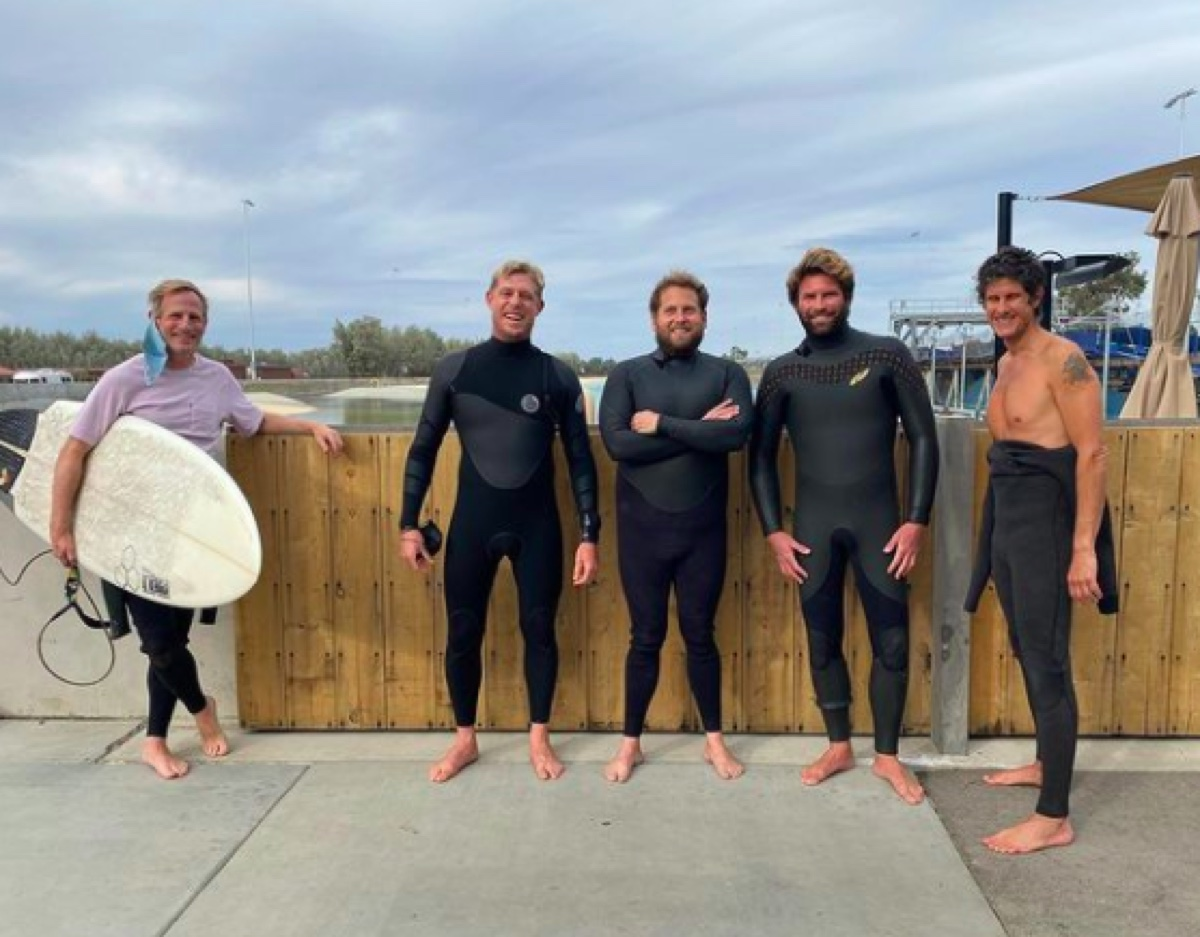 Jonah Hill, Kelly Slater and friends at the beach