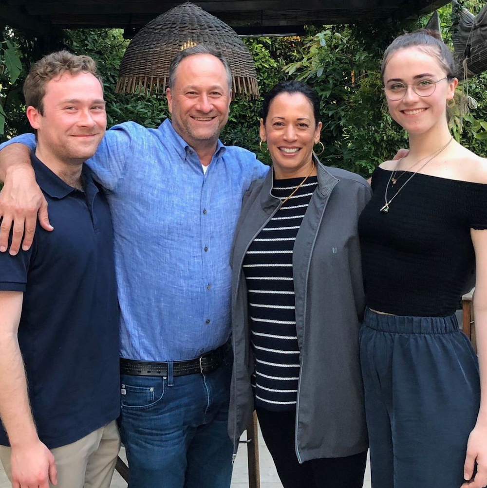 Cole Emhoff, Doug Emhoff, Kamala Harris, and Ella Emhoff in a photo from Harris' Instagram