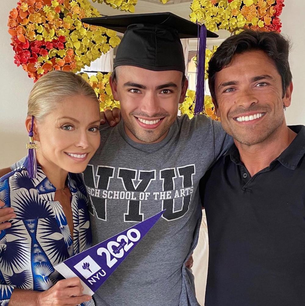 Kelly Ripa, Michael Consuelos, and Mark Consuelos celebrating Michael's college graduation