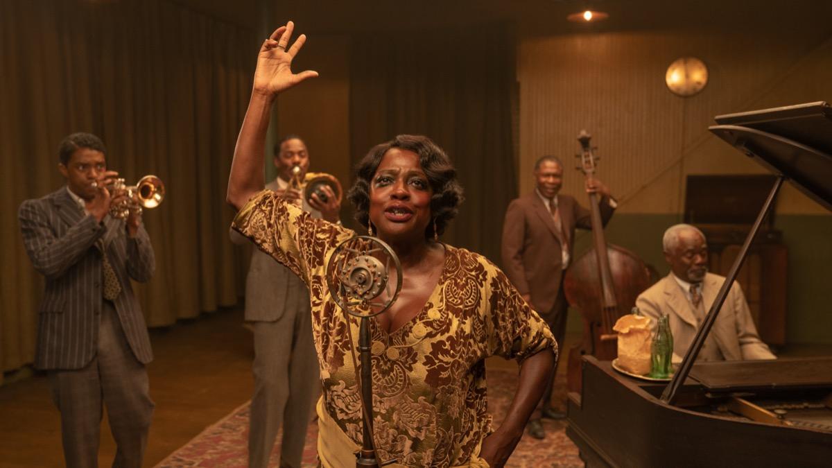 Chadwick Boseman, Colman Domingo, Viola Davis, Michael Potts, and Glynn Turman in Ma Rainey's Black Bottom