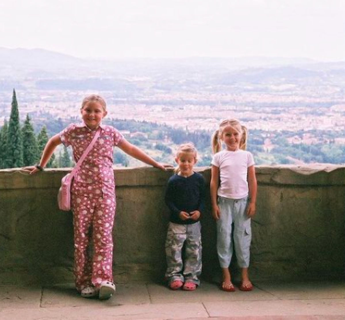 Young Gracie, Audrey, and Maggie McGraw in Florence, Italy