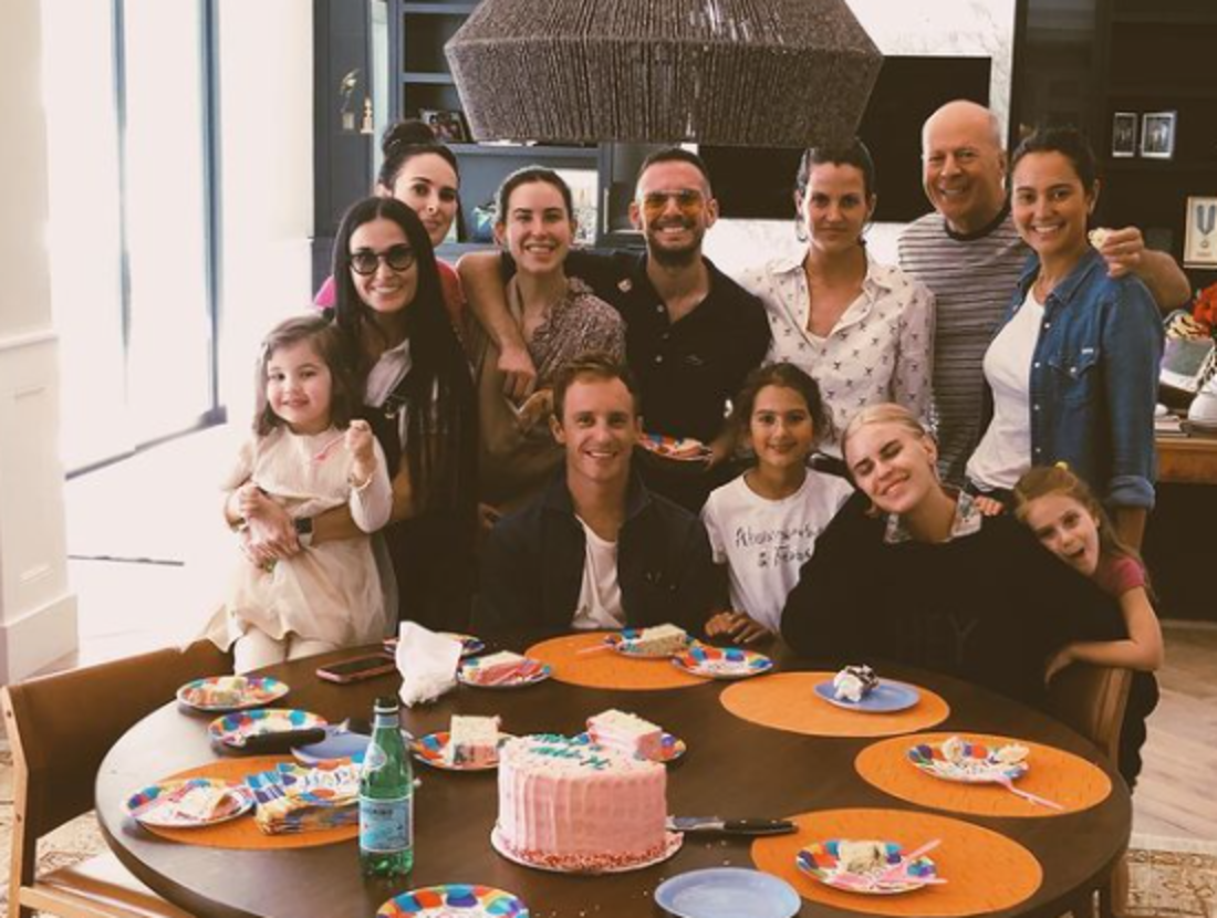 Demi Moore, Emma Heming Willis, Bruce Willis, and other family members celebrating a birthday