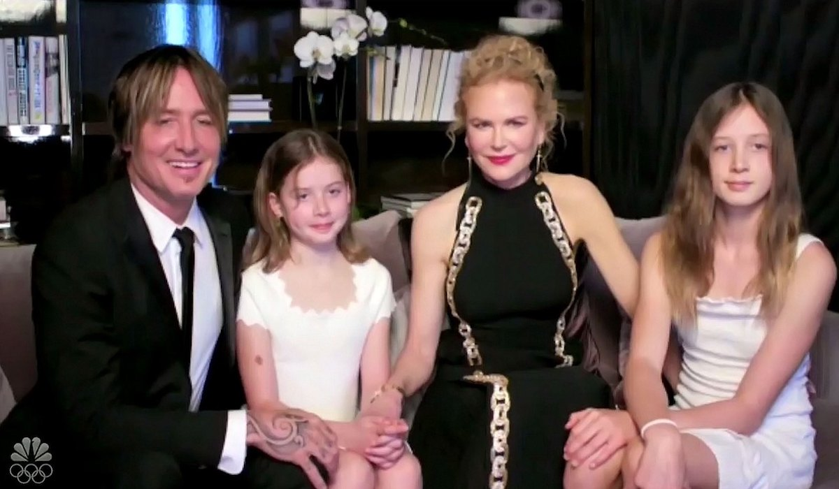 Nicole Kidman, Keith Urban, and daughters at the 2021 Golden Globes