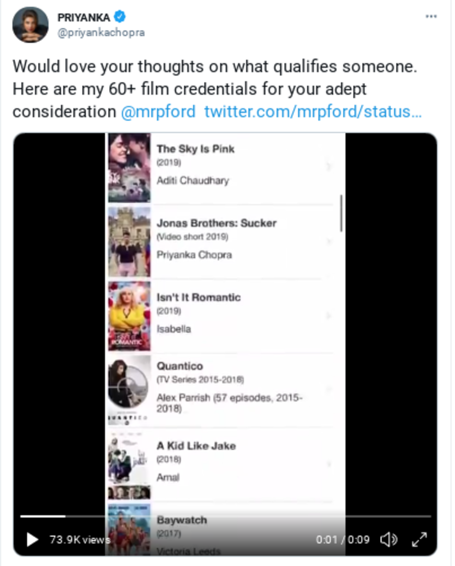 Priyanka Chopra's tweet listing her acting credits
