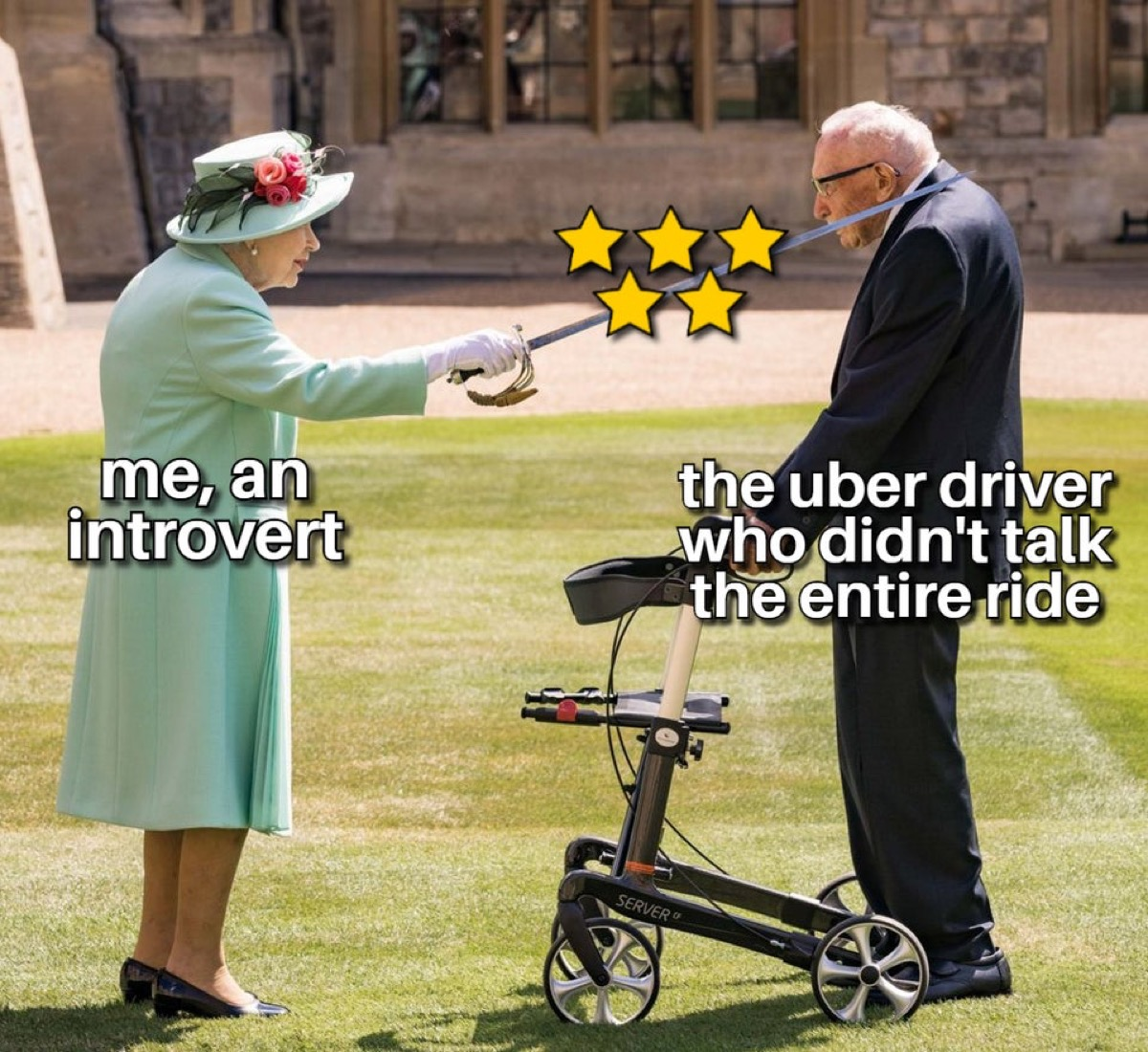 """Queen Elizabeth knighting a man with the captions, """"Me, an introvert."""" and """"the Uber driver who didn't talk the entire ride."""""""