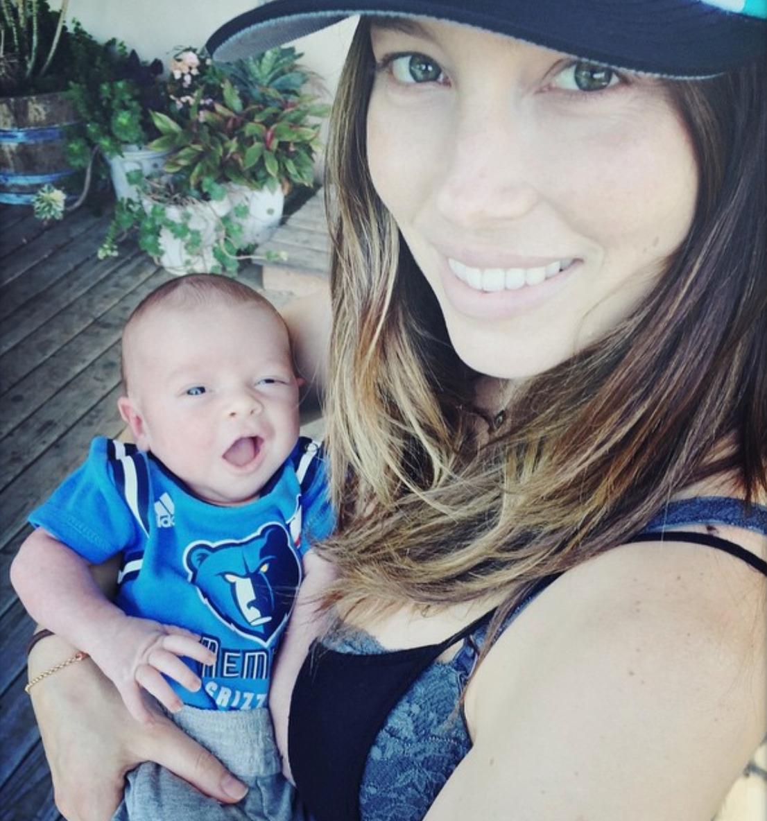 Jessica Biel holding baby Silas