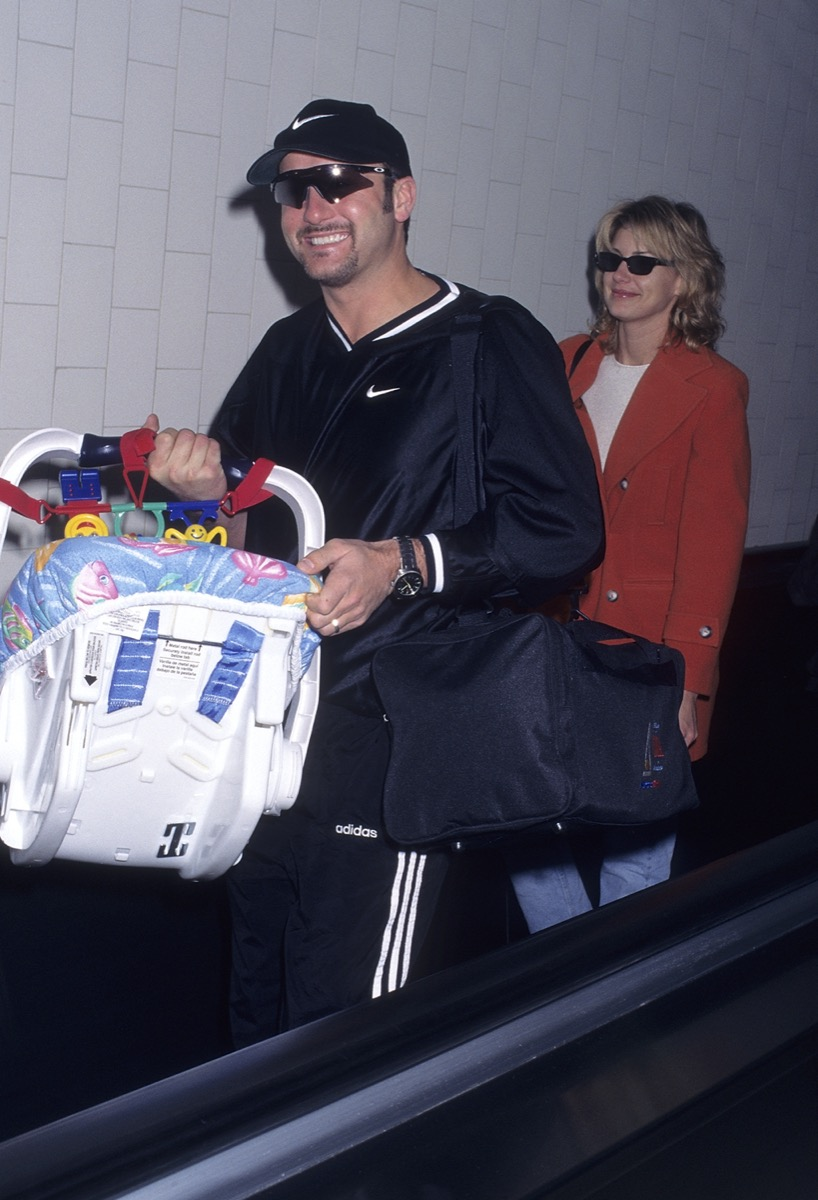 Tim McGraw, Faith Hill, and baby Gracie in 1997