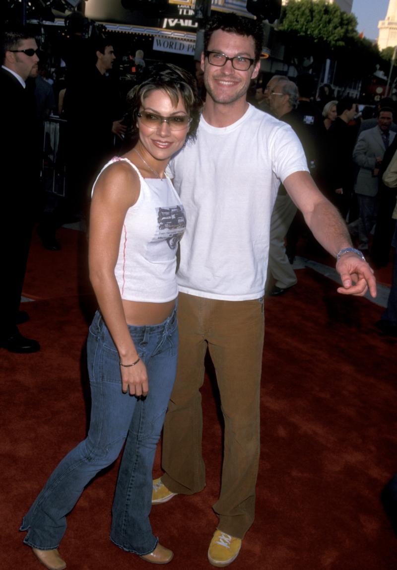 "Vanessa Marcil and Brian Austin Green at the premiere of ""Lara Croft: Tomb Raider"" in 2001"