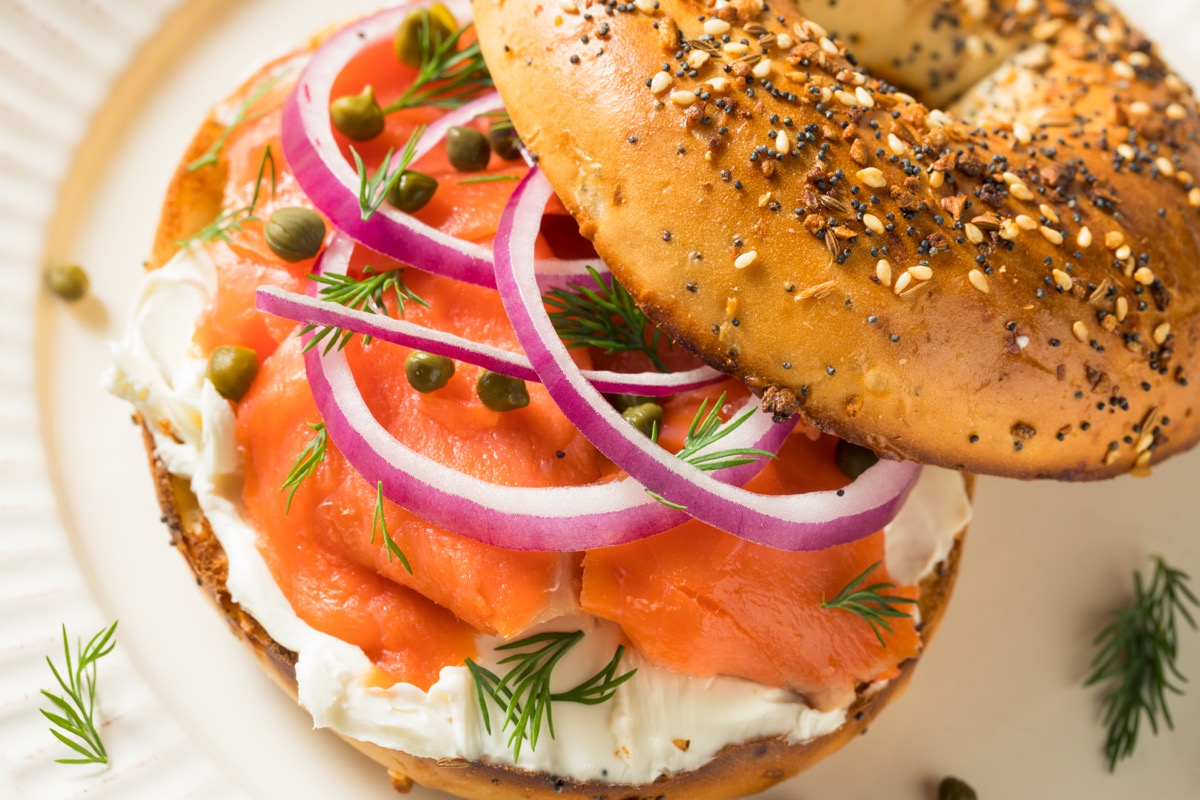bagel with lox or smoked salmon and capers