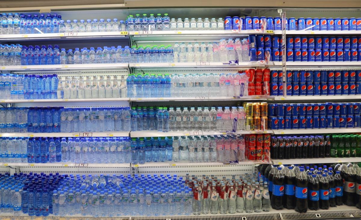 bottled water in grocery store