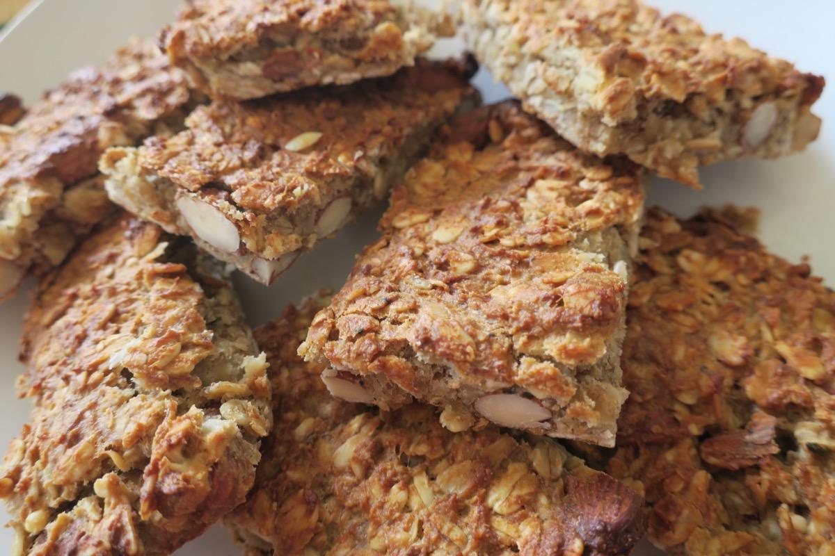 stack of oat-based breakfast bars