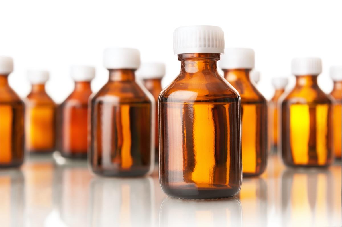 brown or orange colored glass medicine bottles