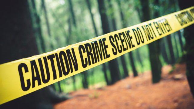 crime scene tape in the woods