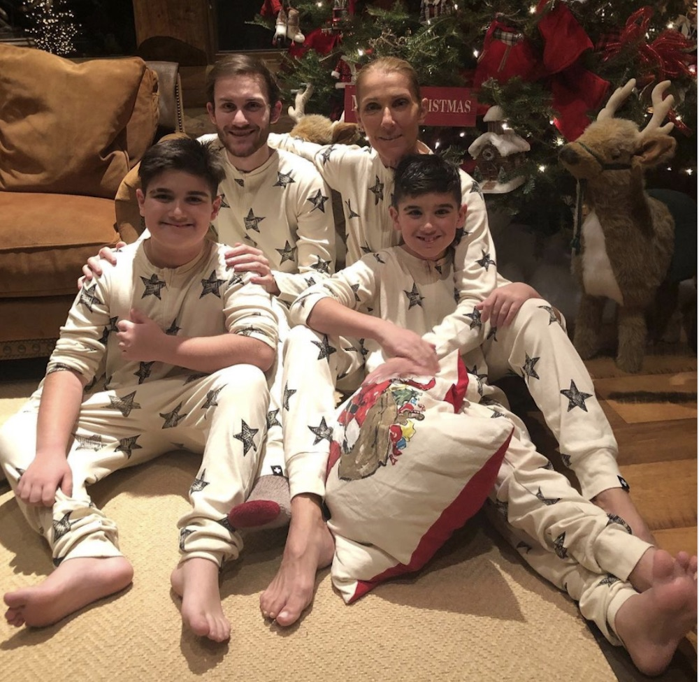 Celine Dion and her sons, including Rene Charles Angelil