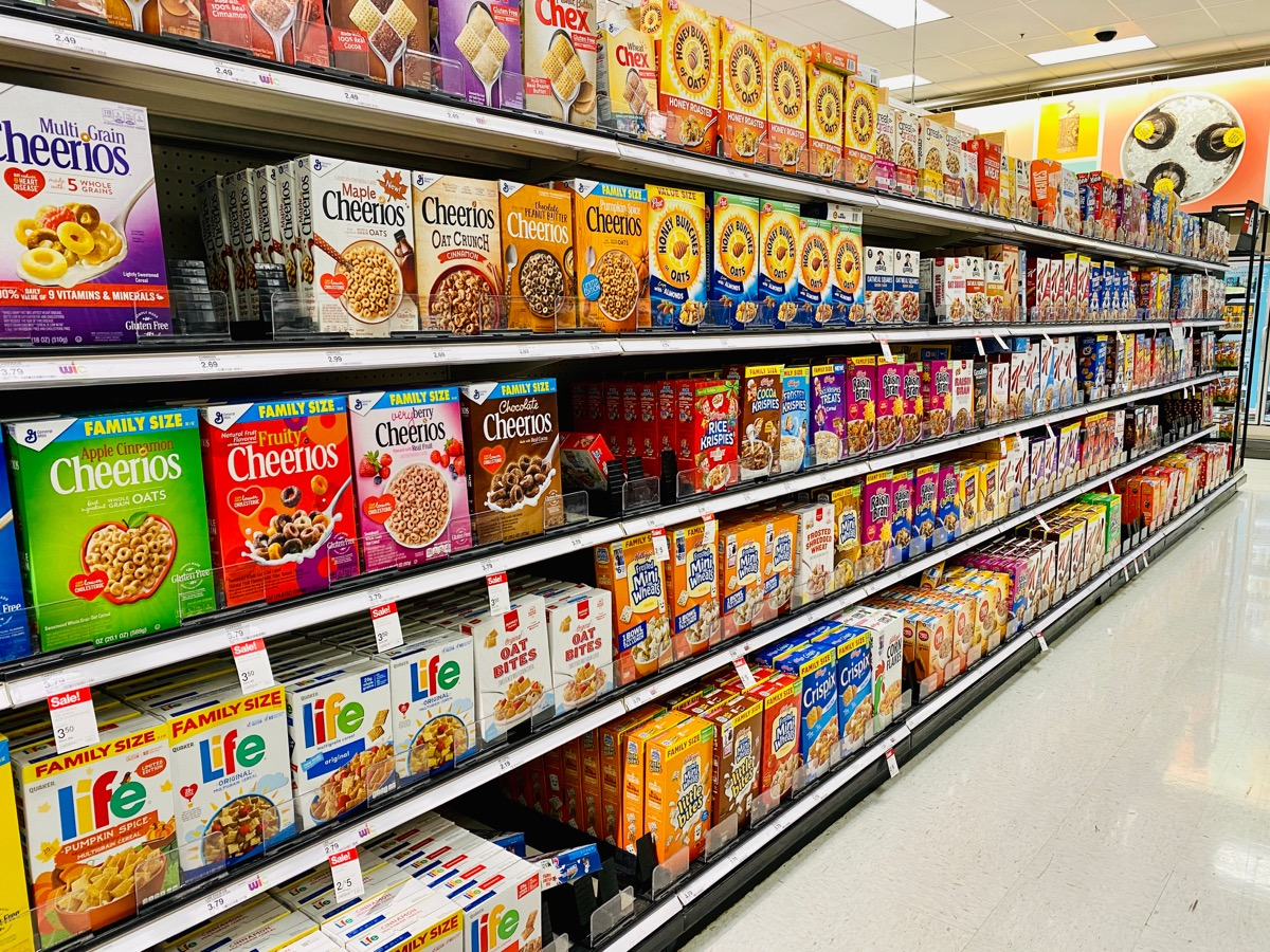 cereal aisle with a bunch of cereals