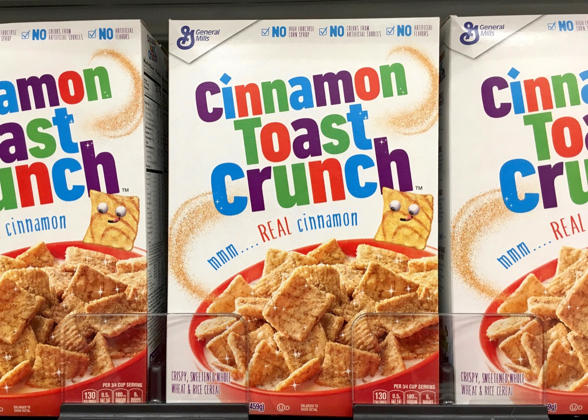 Alameda, CA - July 21, 2017: Grocery store shelf with boxes of General Mills brand Cinnamon Toast Crunch cereal.