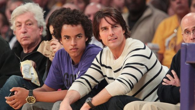 connor cruise and tom cruise courtside at a basketball game