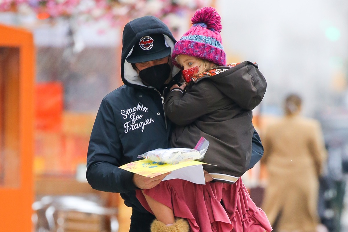 Bradley Cooper with his daughter Lea in New York
