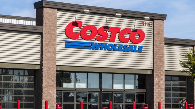 The storefront of a Costco warehouse wholesaler