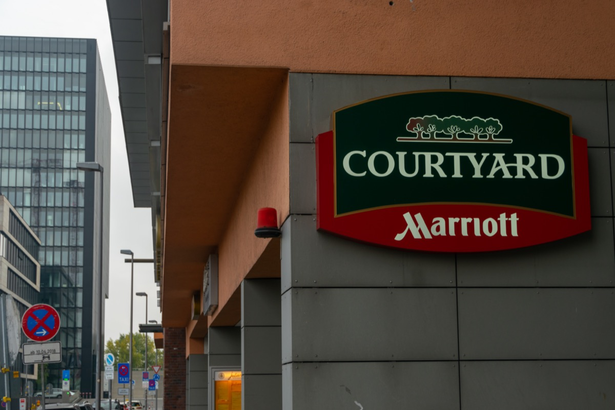 A sign for the Courtyard Marriott hotel in Dusseldorf, Germany