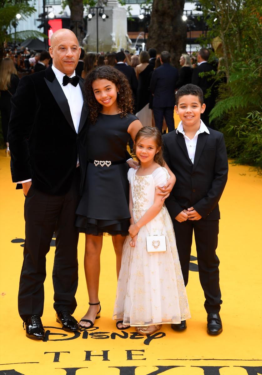 Vin Diesel at premiere with kids in 2019