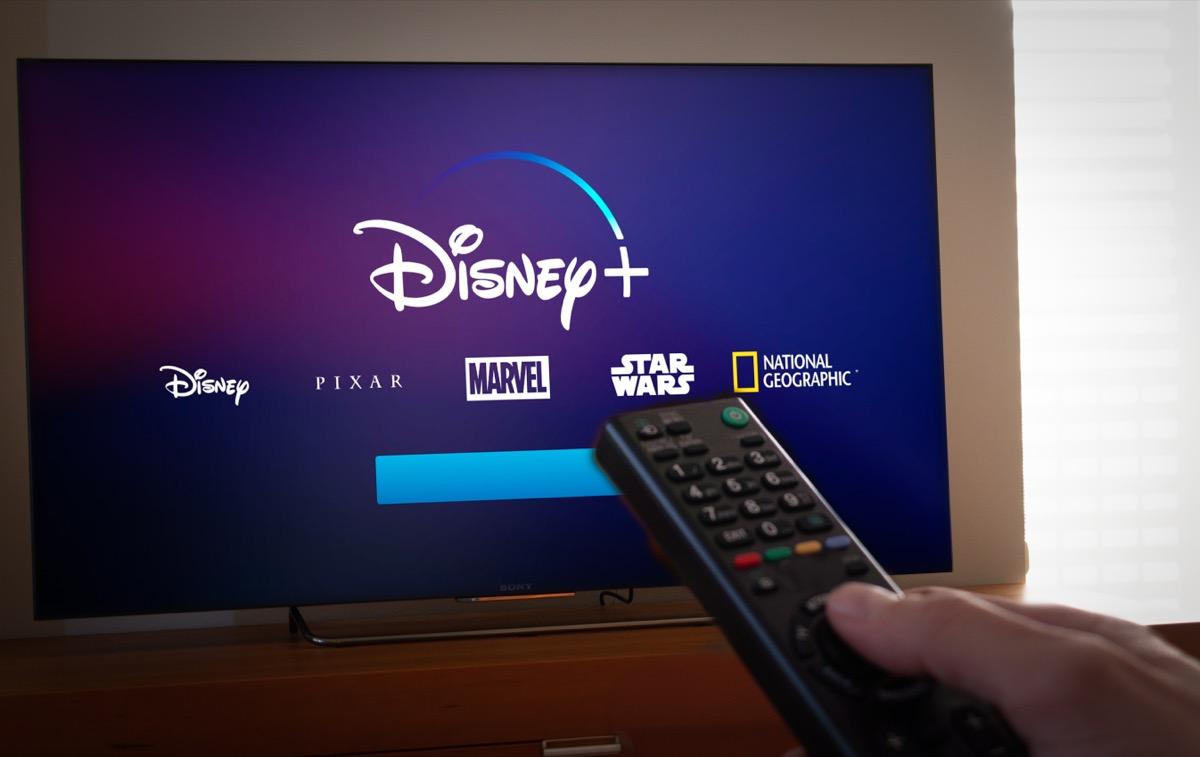 disney+ home screen on tv