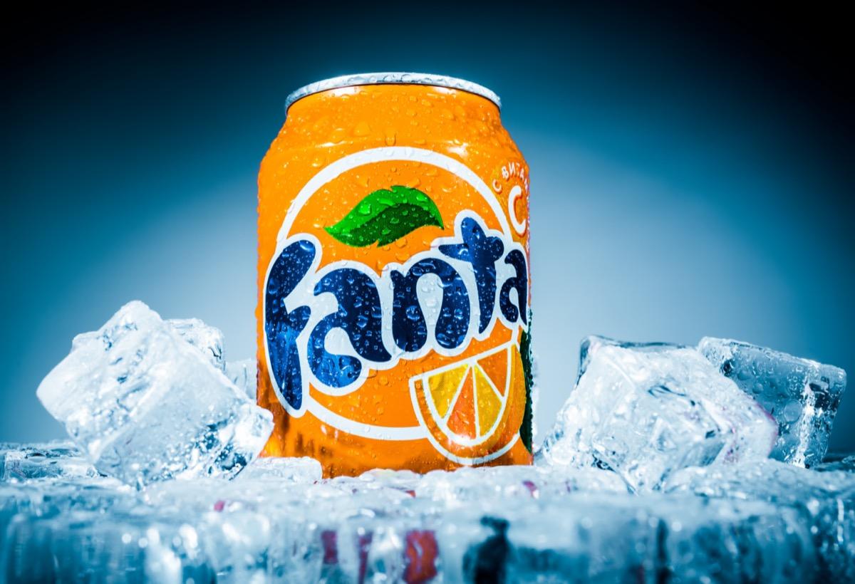A can of Fanta Orange soda on ice