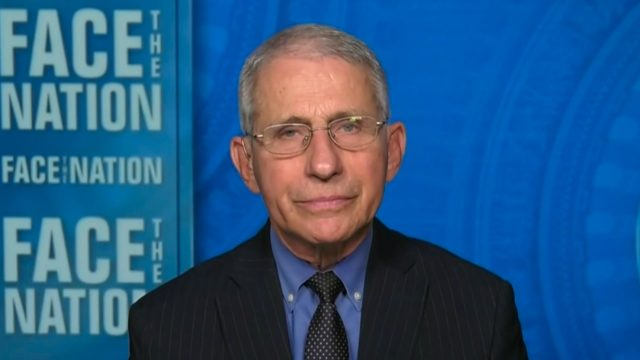 Dr. Anthony Fauci appearing on Face the Nation on Feb. 28, 2021