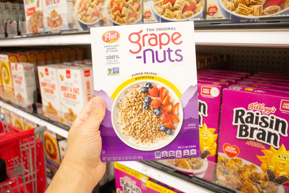 grape-nuts cereal in the store