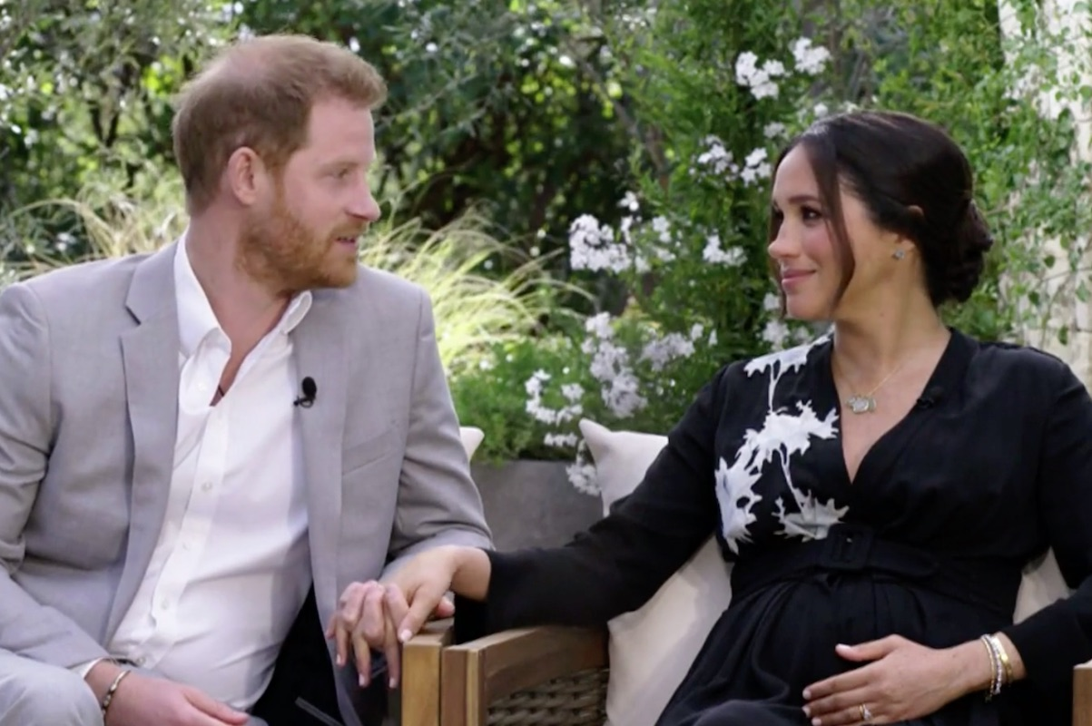 Harry and Meghan clench hands while talking about the Queen during Oprah interview on CBS on Mar. 7