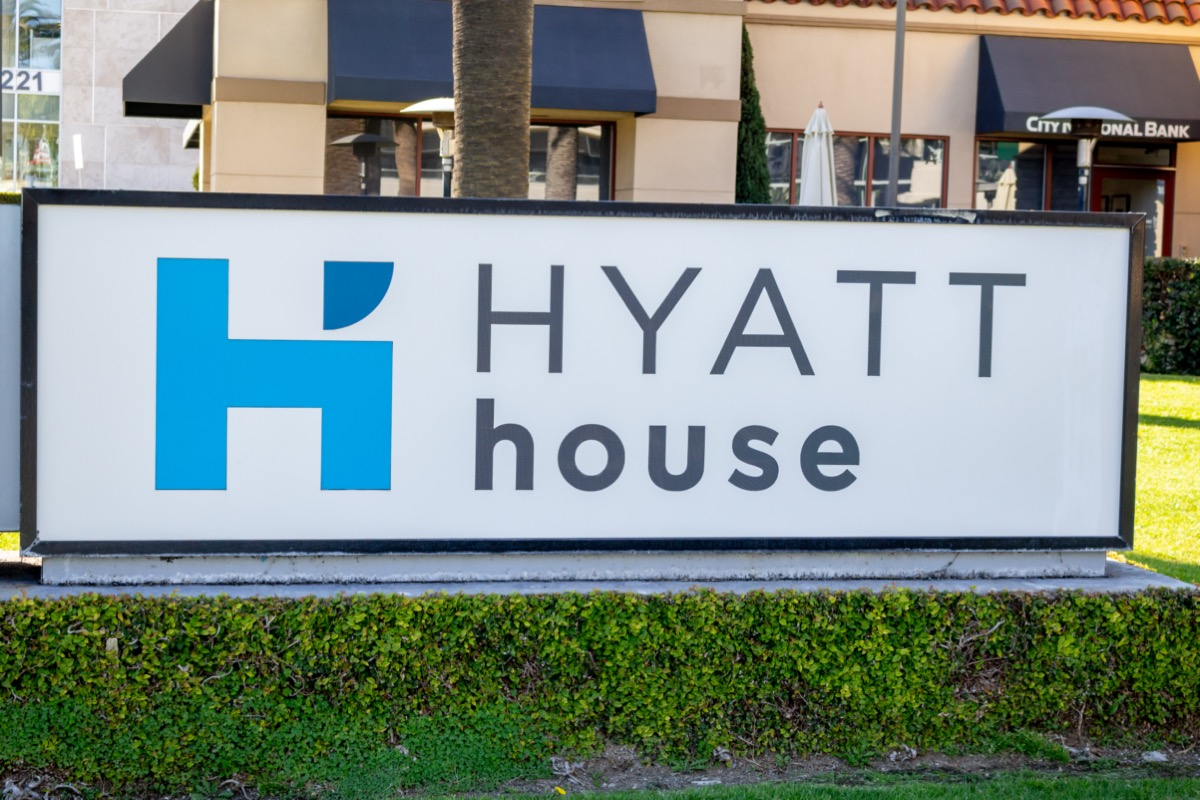 A sign for Hyatt House hotel in Manhattan Beach, California