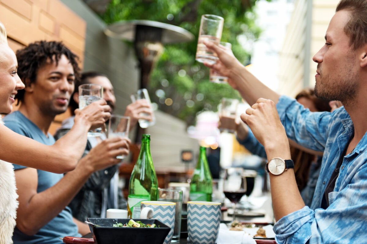 Group of friends, people eating outdoors