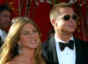 Jennifer Aniston and Brad Pitt at the Emmy Awards in 2004