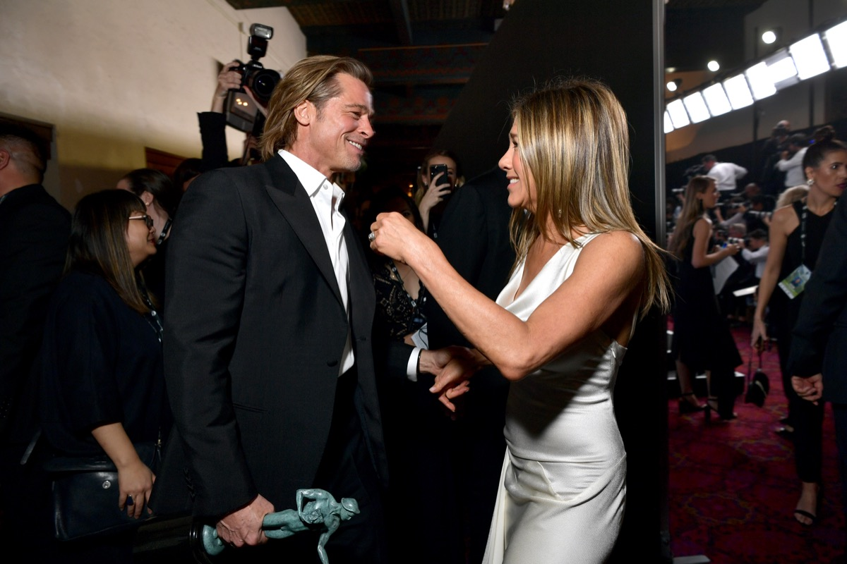 Jennifer Aniston and Brad Pitt backstage at the SAG Awards in 2020