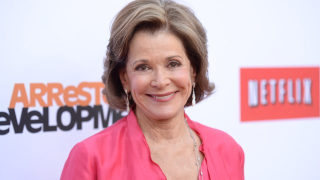 jessica walter in pink top on netflix/arrested development step and repeat