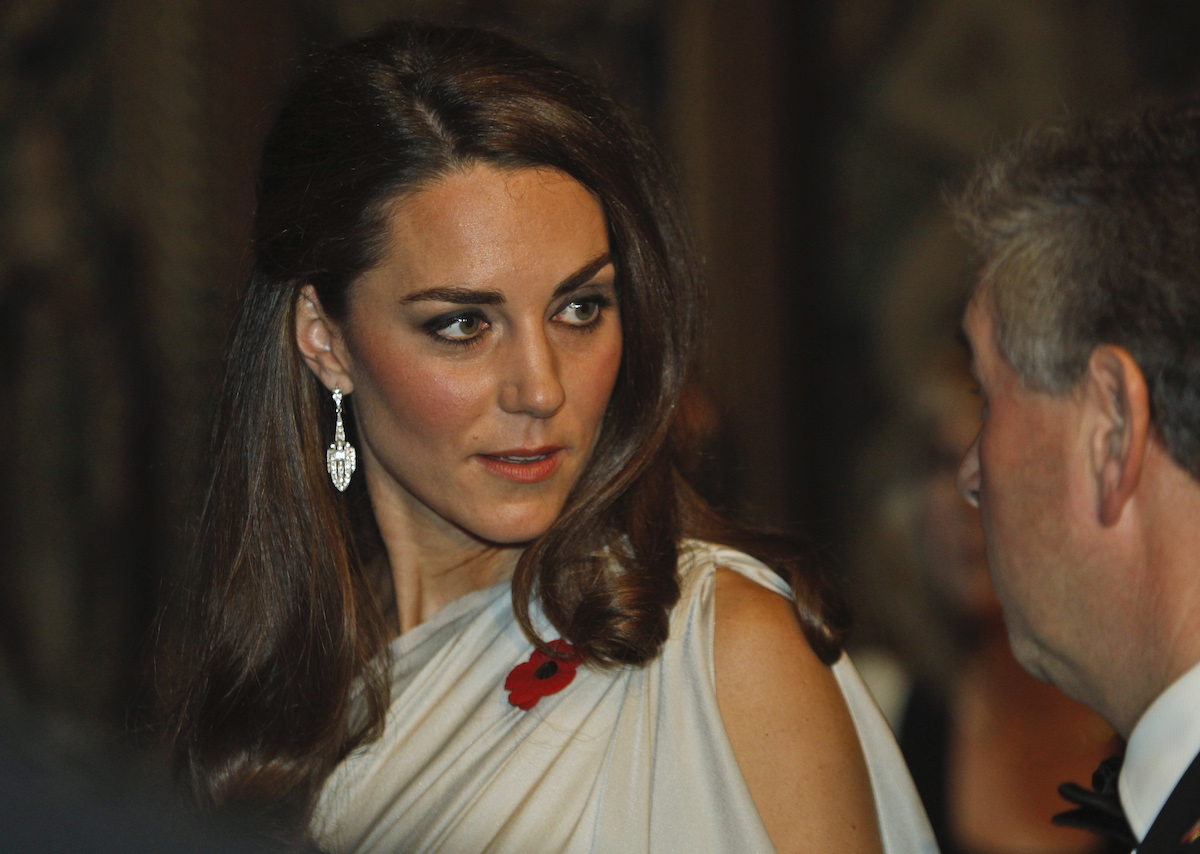 Catherine, Duchess of Cambridge talks to people at a reception in aid of the National Memorial Arboretum Appeal at St James's Palace on November 10, 2011 in London, England.