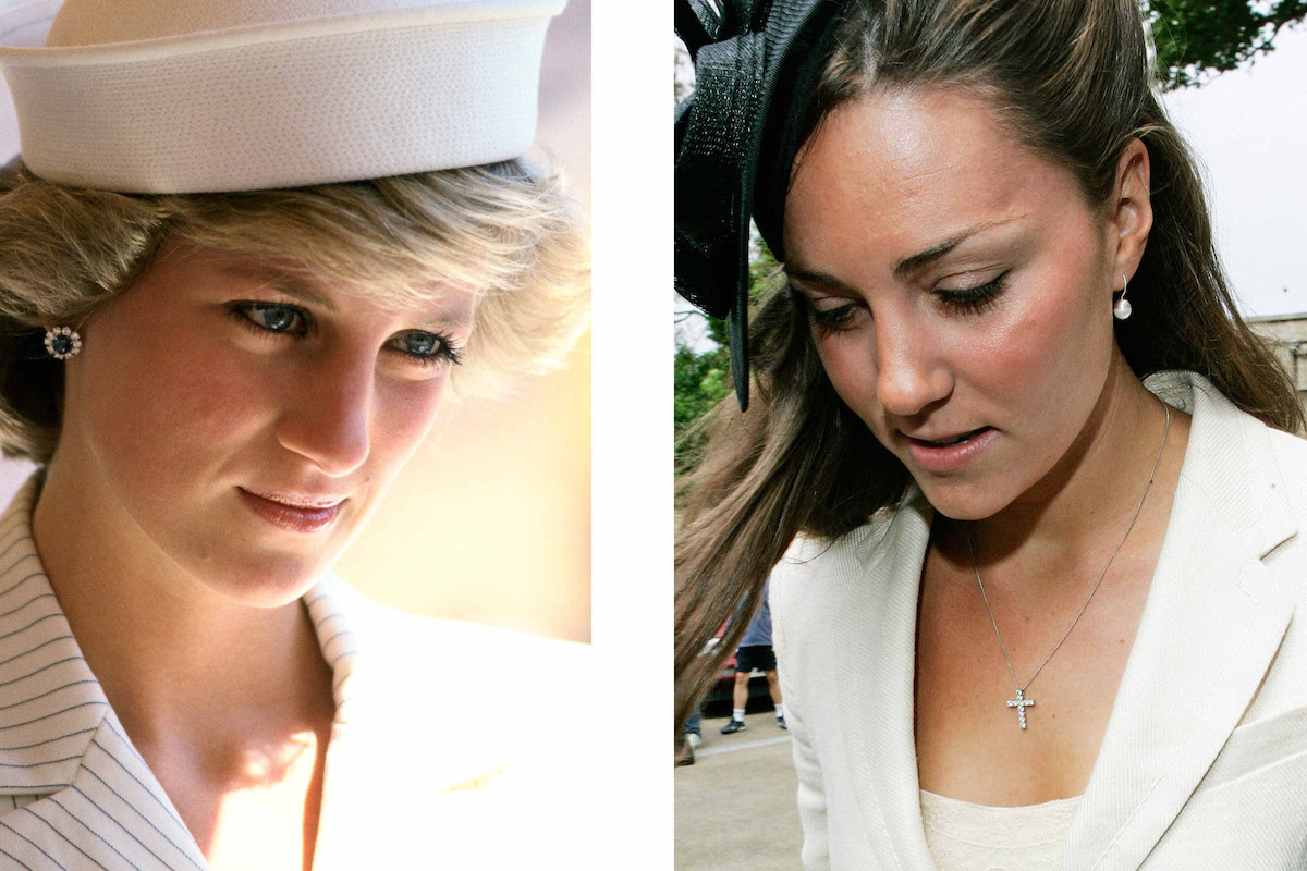 In this photo composite image a comparison, Diana on the left and Kate on the right