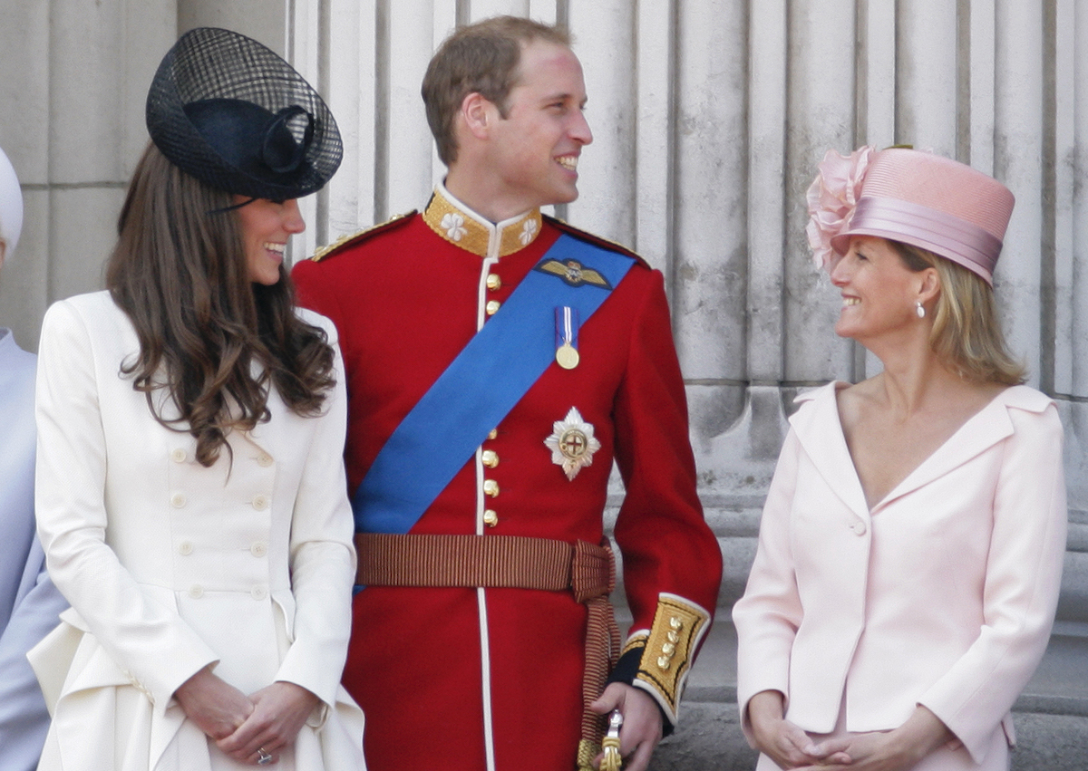Catherine, Duchess of Cambridge, Prince William and Sophie, Countess of Wessex stand on the balcony of Buckingham Palace after the Trooping the Colour Parade on June 11, 2011 in London, England