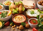 array of middle eastern foods on a table